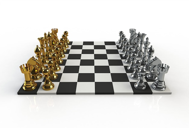 Beside view of chess figures on the playing board on white background, 3d rendering Premium Photo