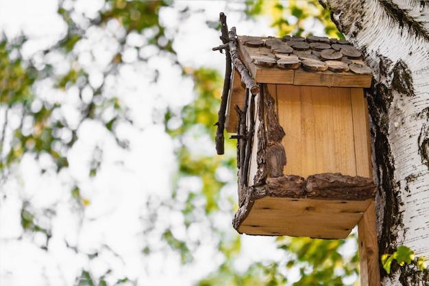公園の白biの木に木製の巣箱。 Premium写真