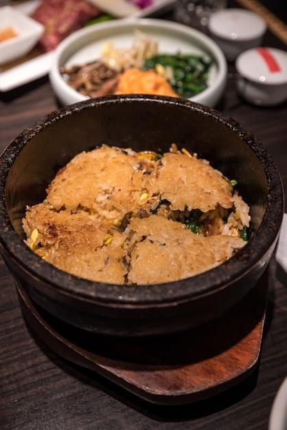 Bibimbap heated stone bowl Premium Photo