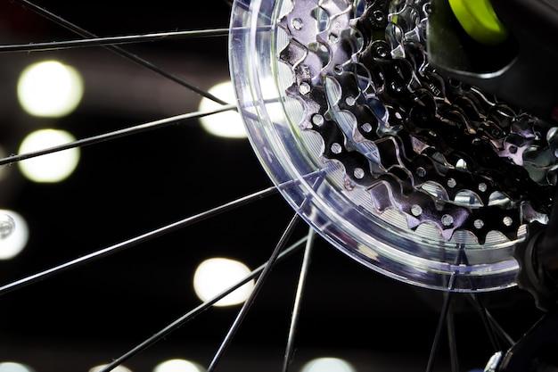 Bicycle back wheel gear set close up. Premium Photo