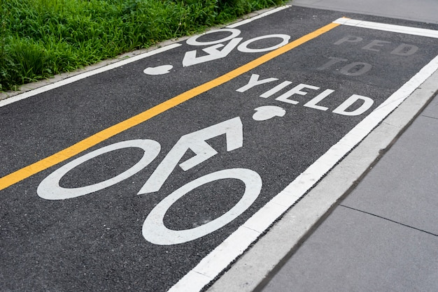 Bicycle lane closeup Free Photo