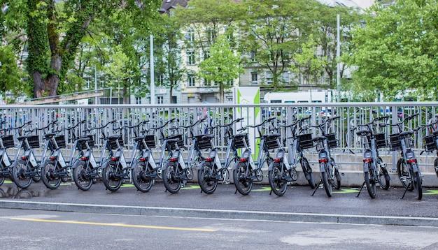 Bicycle parking in zurich Premium Photo