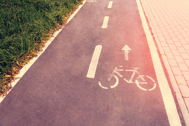 A bicycle path in a public park designed to ensure safety on a bicycle. Premium Photo