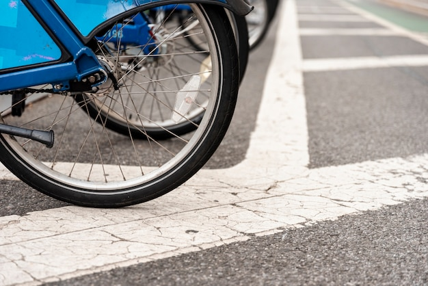 Bicycle in a row closeup Free Photo