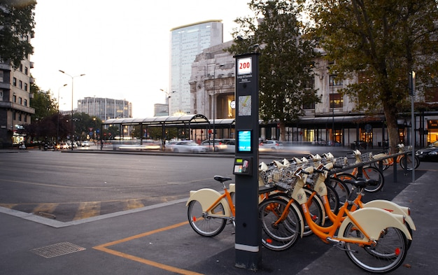 Bicycle sharing station, milan Premium Photo