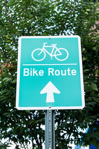 Bicycle sign in the street Free Photo