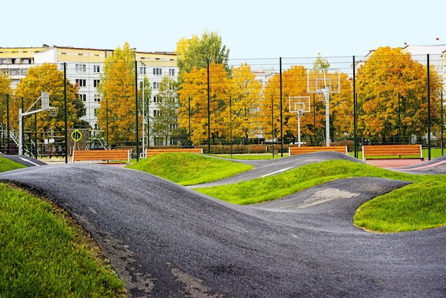 Bicycle track road located in city playground Premium Photo