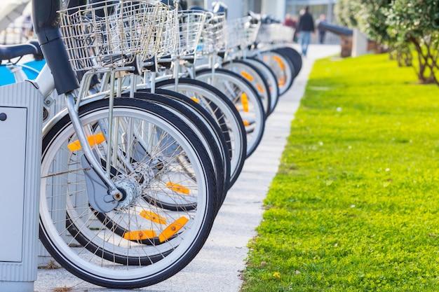 Bicycles for rent in public park (santander cantabria - spain) Premium Photo