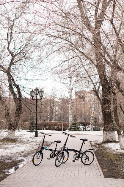 Bicycles on the sidewalk. Premium Photo