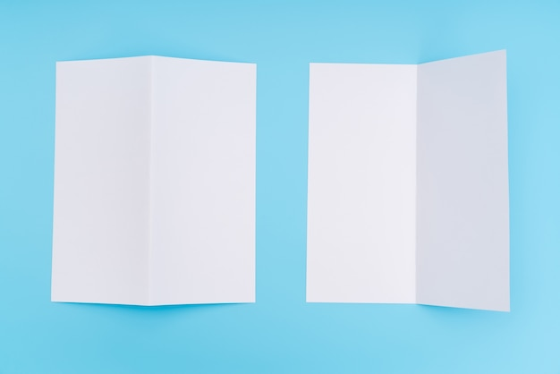 bifold white template paper on blue background photo free download