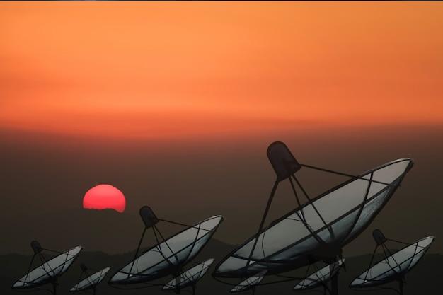 Big black satellite dish Premium Photo
