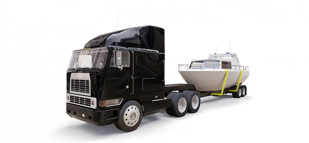 A big black truck with a trailer for transporting a boat on a white background Premium Photo