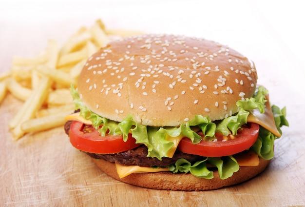 Big burger and chips Free Photo