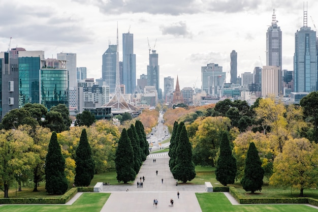 Big city and park in melbourne Free Photo