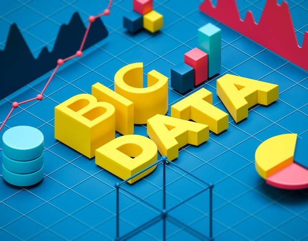 Big data illustration Premium Photo