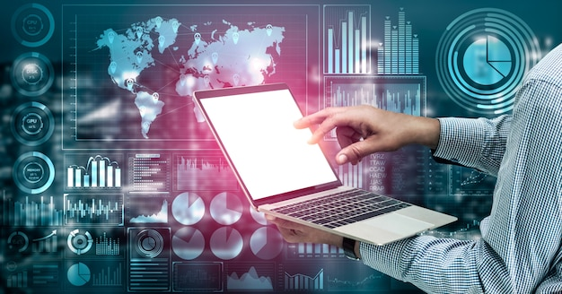 Big data technology for business finance concept. Premium Photo