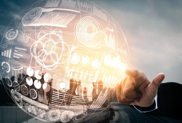 Большая технология данных для концепции финансов дела. Premium Фотографии