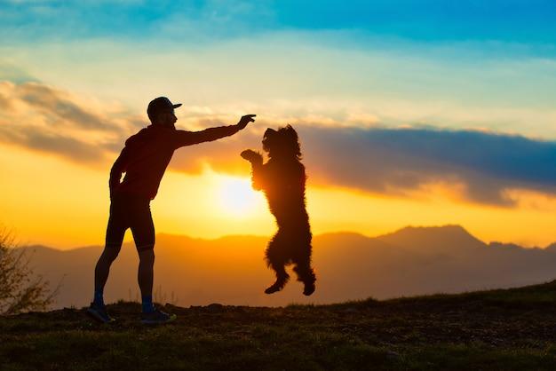 カラフルな夕日の山々を背景に男のシルエットからビスケットを取るためにジャンプする大きな犬 Premium写真
