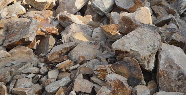 Big granite stones boulders of various sizes set Premium Photo