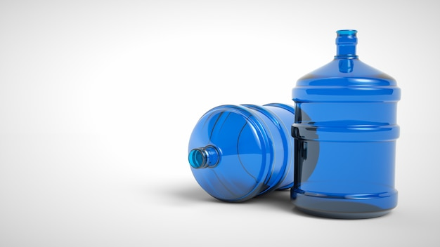 Big plastic bottle potable water isolated on a white background. 3d rendering. Premium Photo