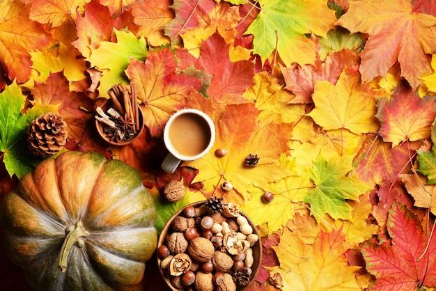 Big pumpkin, wooden bowl of nuts, coffee cup, cone, cinnamon Premium Photo