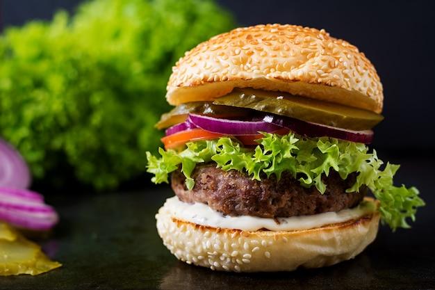 Big Sandwich Hamburger Burger With Beef Pickles Tomato And - Black hamburger