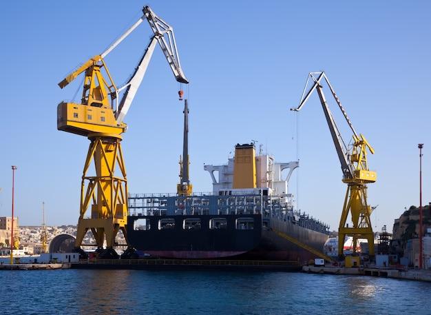 Big ship in dry dock Free Photo