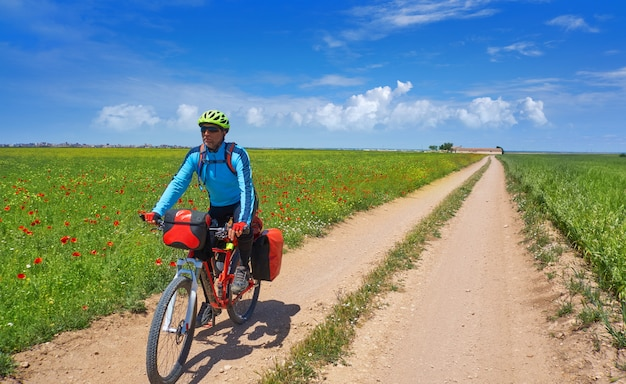 Biker by camino de santiago in bicycle Premium Photo
