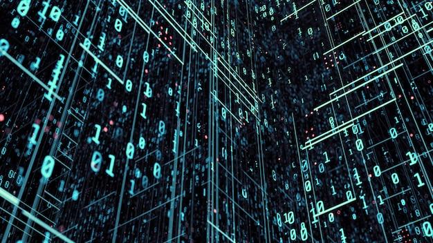 Binary data background in blue color tone. Premium Photo