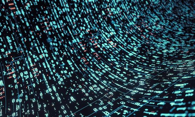青い色調のバイナリデータの背景。 Premium写真
