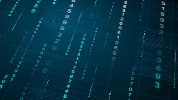 バイナリ雨の背景。青写真のデジタルデータ Premium写真