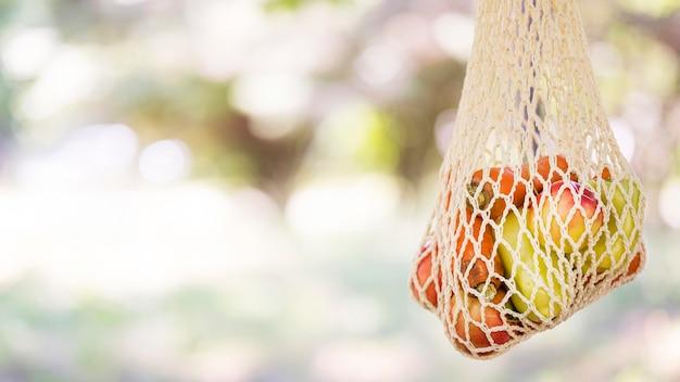 Биоразлагаемый пакет со свежими овощами и фруктами с копией пространства Premium Фотографии
