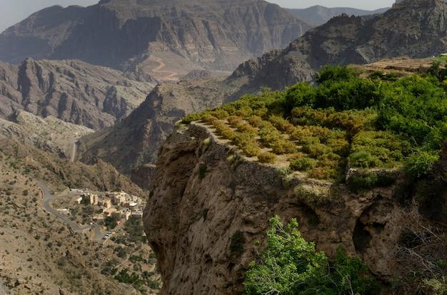 緑の木々に部分的に覆われた巨大で絵のように美しい山々や崖の鳥瞰図 無料写真