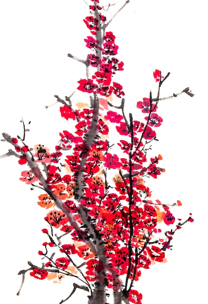 Bird plum traditional background japanese season Free Photo
