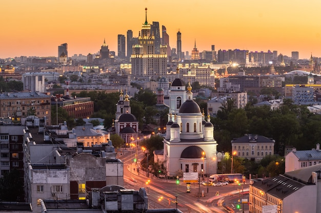 Bird's eye view of moscow cityscape at twilight. Premium Photo