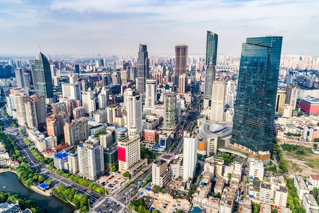 A bird's eye view of shanghai Free Photo
