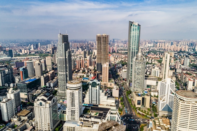 A bird's eye view of shanghai Free Photo