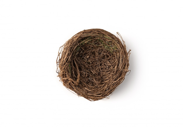 Bird's nest on isolated white Premium Photo