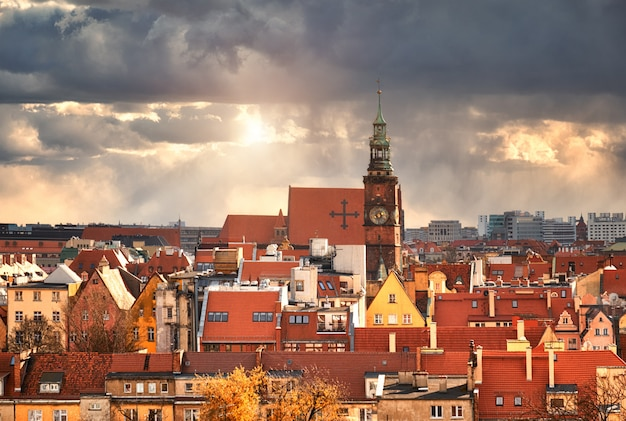 Bird view from the mathematical tower over university of wroclaw, poland Premium Photo