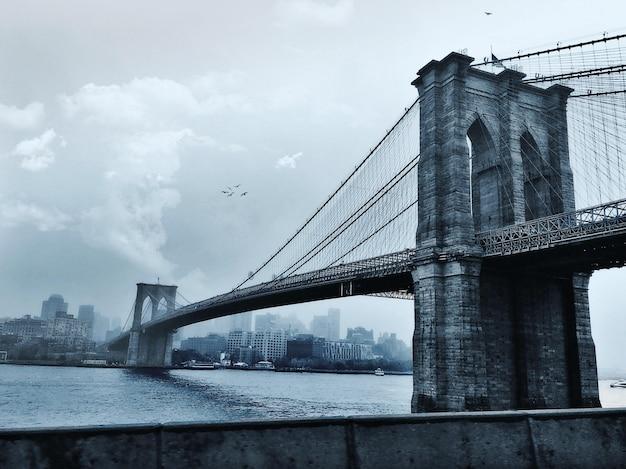 Uccelli che volano sopra il ponte di brooklyn a new york city, usa Foto Gratuite