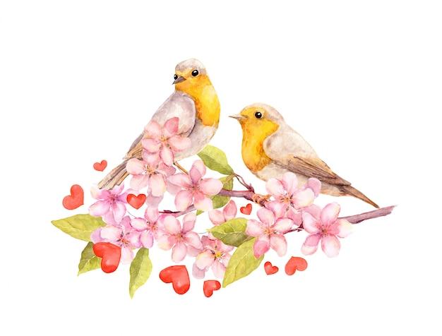 花と花の枝に鳥。水彩 Premium写真