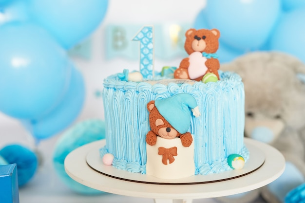 Birthday 1 year cake smash decor blue color Premium Photo