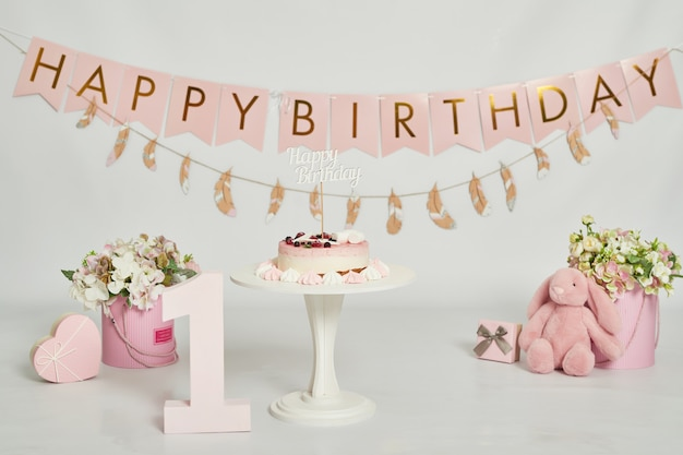 Birthday 1 year cake smash decor Premium Photo