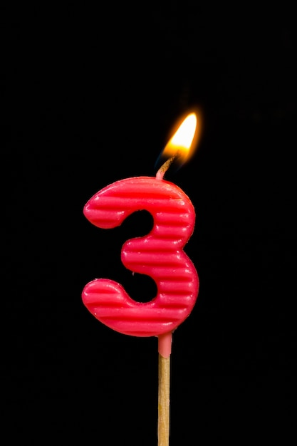 Birthday Anniversary Candles Showing Number 3 Premium Photo