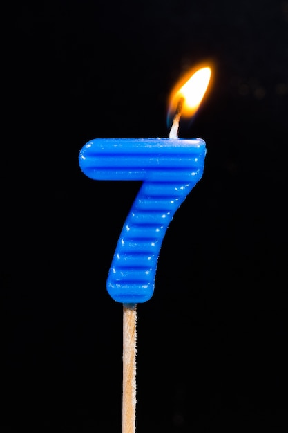 Birthday Anniversary Candles Showing Number 7 Premium Photo