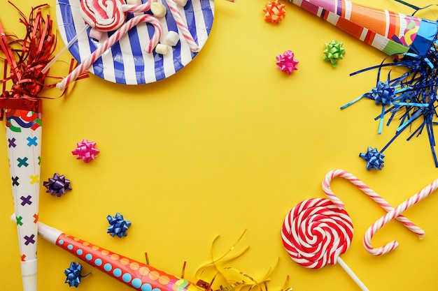 Birthday Background With Great Decorative Items Photo