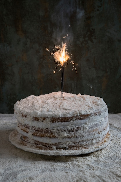 Birthday Cake Decorated With Sparkler Photo