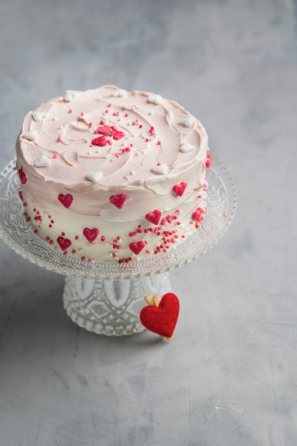 Birthday Cake For Valentines Day With Pink Hearts And Colorful Sprinkles Copy Space Premium