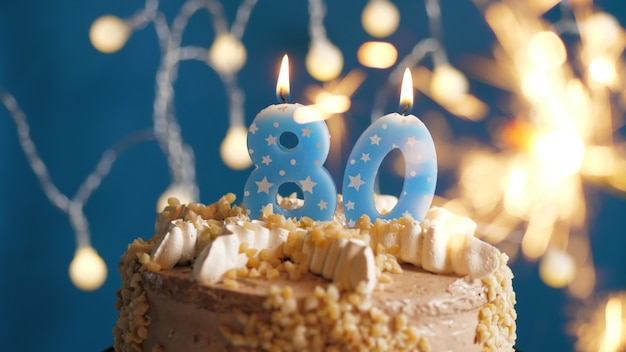 Astonishing Birthday Cake With 80 Number Candles And Burning Sparkler Funny Birthday Cards Online Alyptdamsfinfo