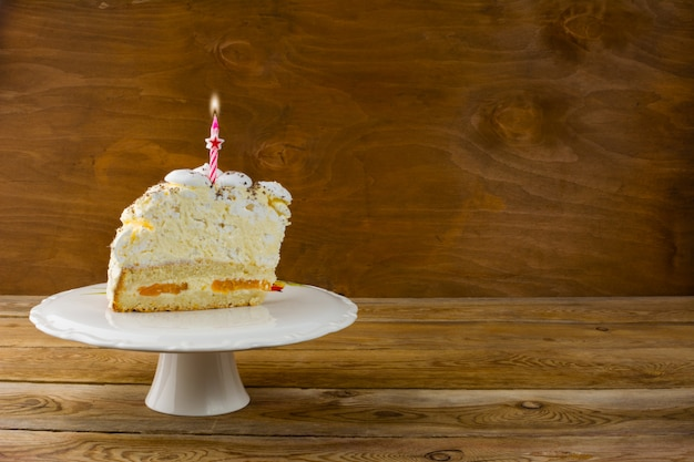 Birthday cake with burning candles, copy space Premium Photo